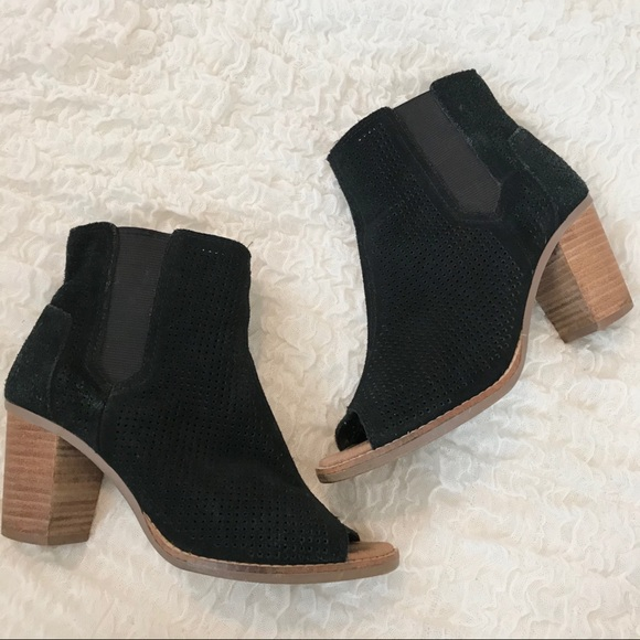 "TOMS Black Suede Perforated ""Majorca"" Bootie"